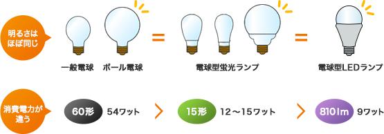 一般電球と電球形蛍光ランプの比較